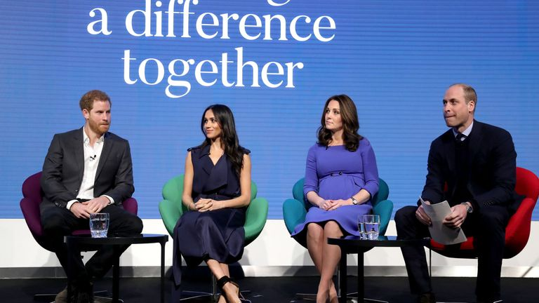 "The Duke of Sussex, the Duchess of Sussex, the Duchess of Cambridge and the Duke of Cambridge who will voice a new mental health campaign during a ""national takeover"" that will be simultaneously broadcast to millions of television viewers. PA Photo. Issue date: Monday October 7, 2019. The royal quartet will narrate a short film launching the Every Mind Matters campaign - an initiative from Public Health England"