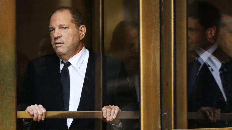 Harvey Weinstein leaving court following a hearing in August