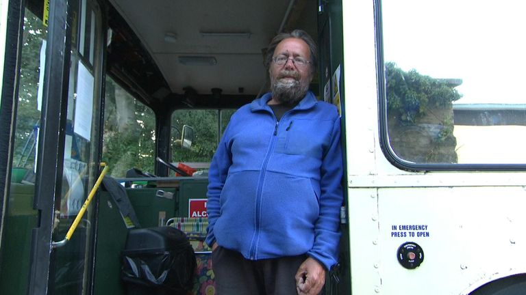 David lives in a converted bus in Cirencester. Since 2012, the number of people sleeping rough in the UK has risen by 33%.