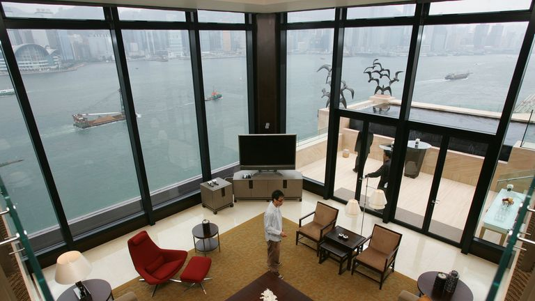 A top view of the living room of the presidential suite in the InterContinental Hong Kong Hotel with a window view of the Victoria Harbour January 17, 2006