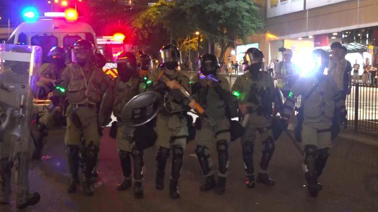 Hong Kong police square up to demonstrators
