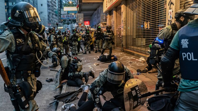 Pro-democracy protesters have complained police have used to much force during arrests