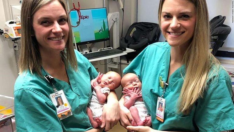 Tara and Tori delivered Addison and Emma in September. Pic: Piedmont Athens Regional Medical Center