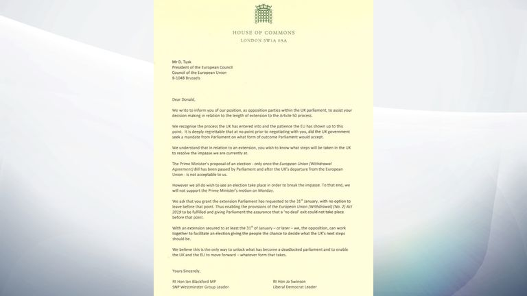 SNP Westminster leader Ian Blackford and Lib Dem leader Jo Swinson's letter to Donald Tusk