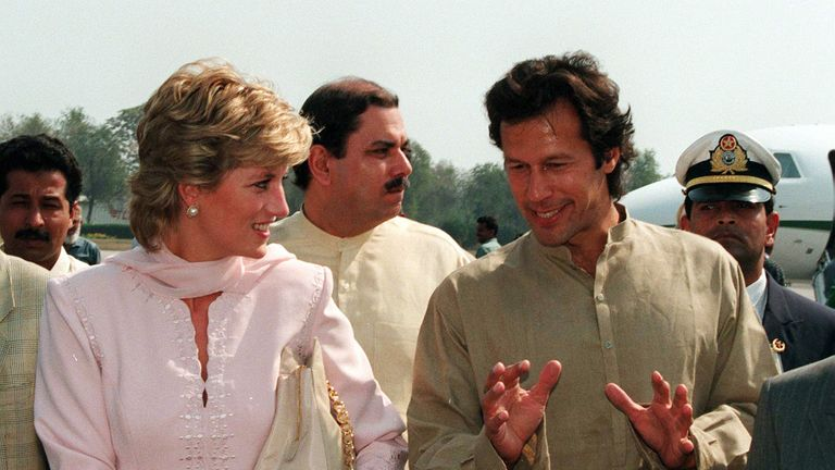 Imran Khan and Princess Diana in Lahore in April 1996