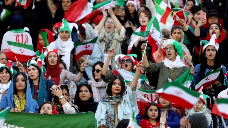RTS2QHC010 Oct. 2019Tehran, IranIranian women attend Iran's World Cup Asian qualifier against Cambodia at the Azadi stadium in Tehran, Iran October 10, 2019. WANA (West Asia News Agency) via REUTERS