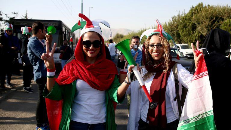 Iranian women attend Iran's World Cup Asian qualifier against Cambodia at the Azadi stadium in Tehran, Iran October 10, 2019