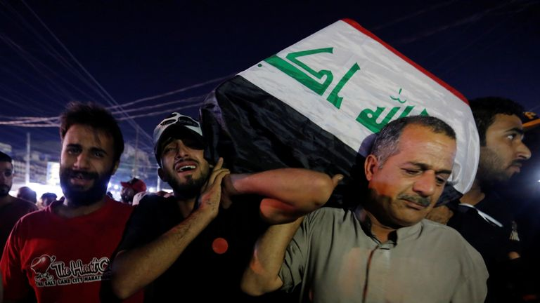 Men carry the coffin of a demonstrator who was killed during anti-government protests, in Baghdad
