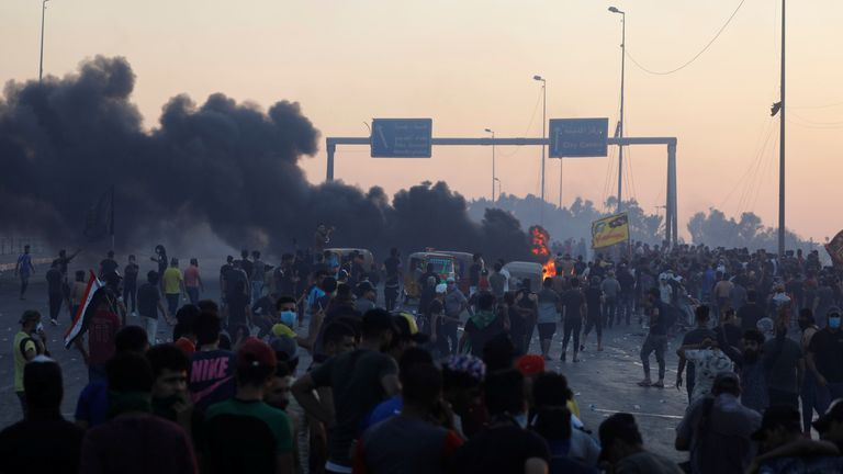 Protests rage in Baghdad