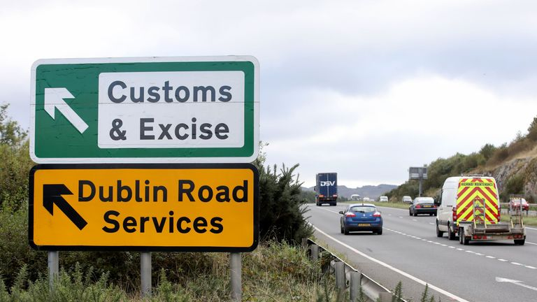 Signs point to an old customs and excise area on the Dublin road in Newry, Northern Ireland, on October 1, 2019
