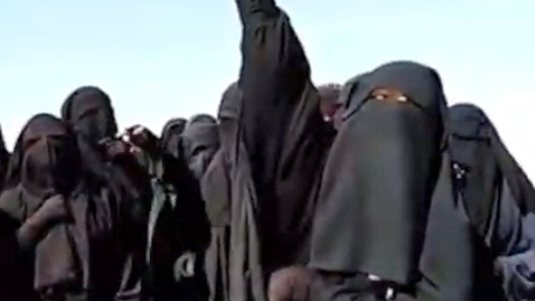 At the start of the Turkish offensive Islamic State wives were seen here, celebrating in their detention camp