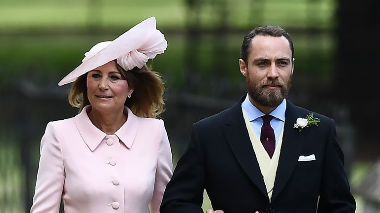 James and his mother Carole at his sibling Pippa's wedding in 2017