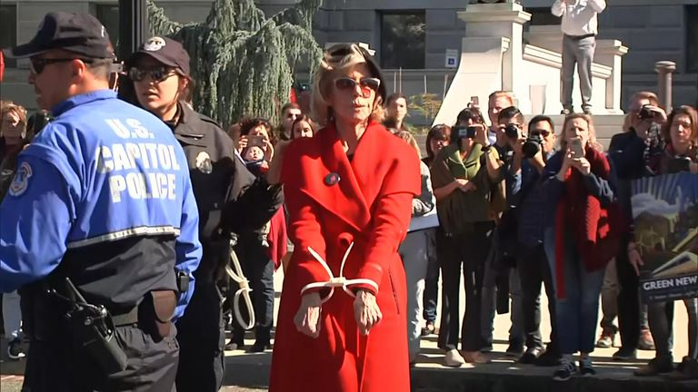 Jane Fonda was arrested again for protesting outside the Capitol in Washington DC in an effort to urge US officials to take climate change seriously.