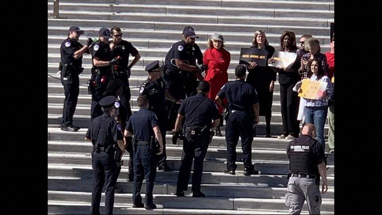 Actress Jane Fonda was arrested while taking part in a climate change protest at the US Capitol in Washington DC.