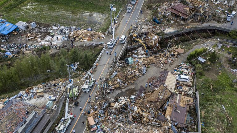 CHIBA, JAPAN - OCTOBER 13: Buildings lie in ruins after they were hit by a tornado shortly before the arrival of Typhoon Hagibis, on October 13, 2019 in Chiba, Japan. At least five people are reported dead and many others are missing after Typhoon Hagibis, one of the most powerful storms in decades, swept across Japan. (Photo by Carl Court/Getty Images)