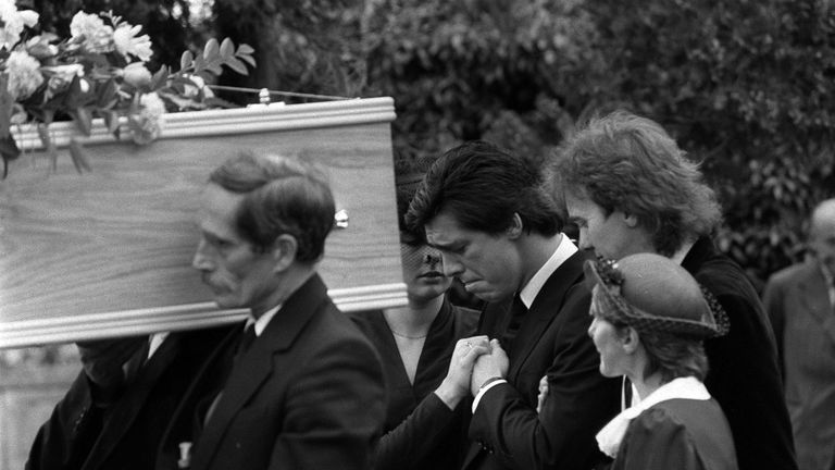 Jeremy Bamber (centre) follows the coffins of his parents and sister at their funeral in 1985