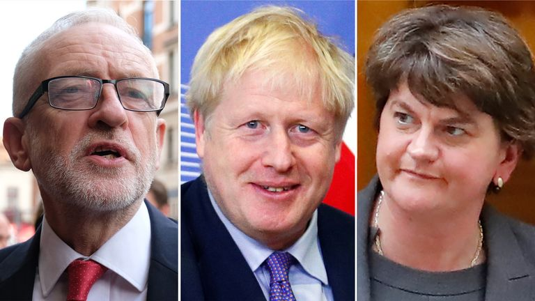 Jeremy Corbyn, Boris Johnson and Arlene Foster
