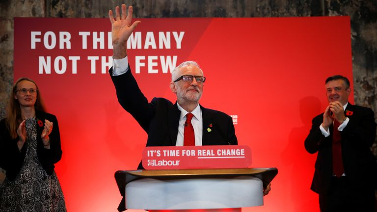 Jeremy Corbyn waves to supporters at a launch event for the Labour party's general election campaign in London