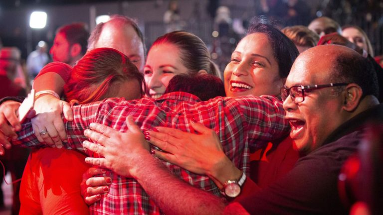 Supporters of Liberal party candidate, Justin Trudeau, react to the announcements of the first results at the Palais des Congres in Montreal during Team Justin Trudeau 2019 election night event in Montreal, Canada on October 21,