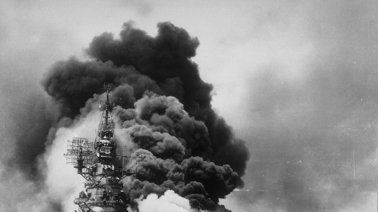 Kamikazi attacks were suicide missions by Japanese pilots who flew their explosive-packed planes into ships