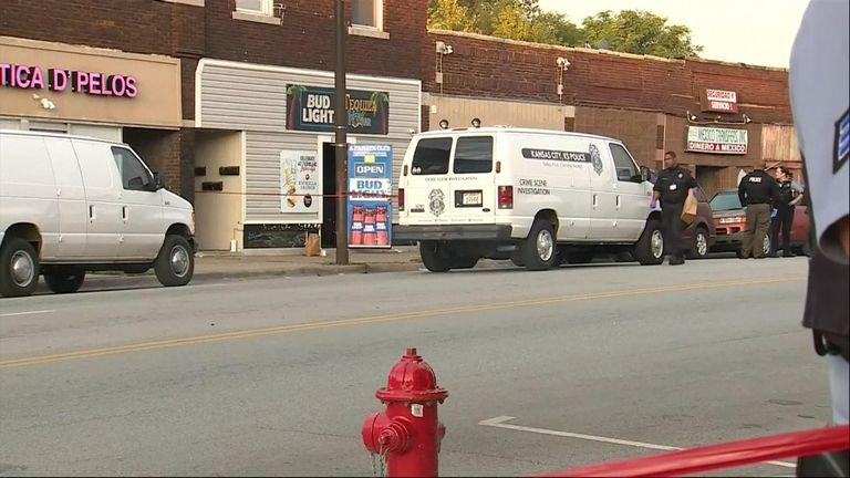 The scene of a shooting in Kansas City. Pic: KMBC