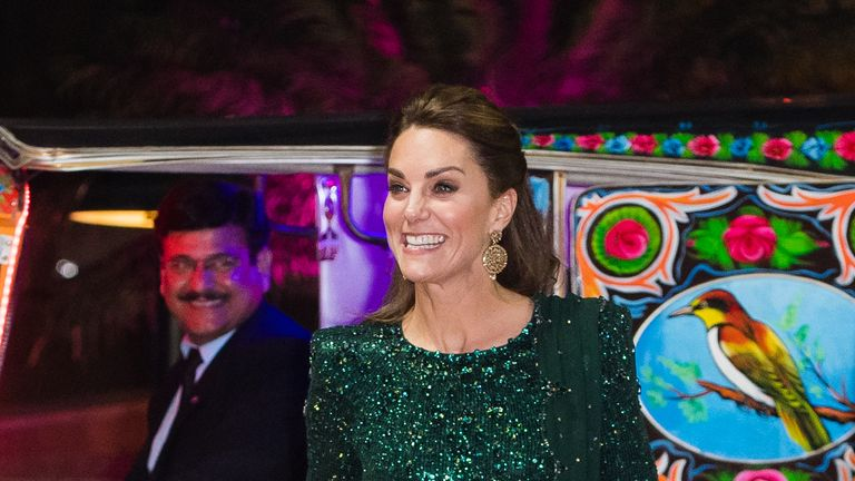 Kate again chose green for an evening event