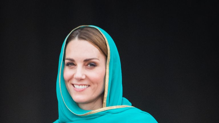 Kate wore a headscarf on the trip