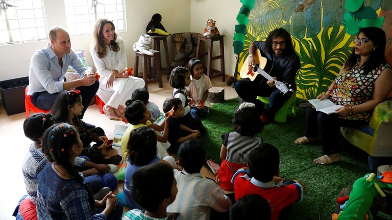 The royal couple spend time with the children at SOS Children's village