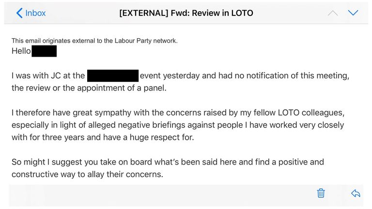 Labour internal email