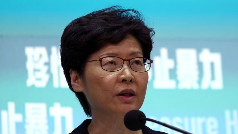 Carrie Lam said the ban would come in on 5 October