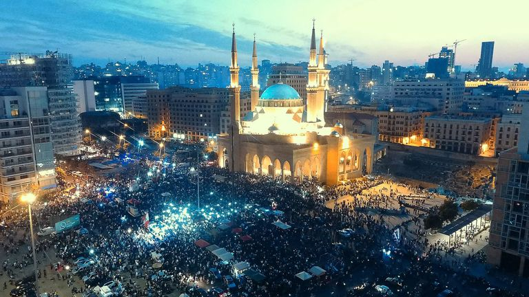 Thousands thronging the streets of downtown Beirut