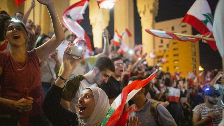 Protesters in central Beirut demonstrating against the government