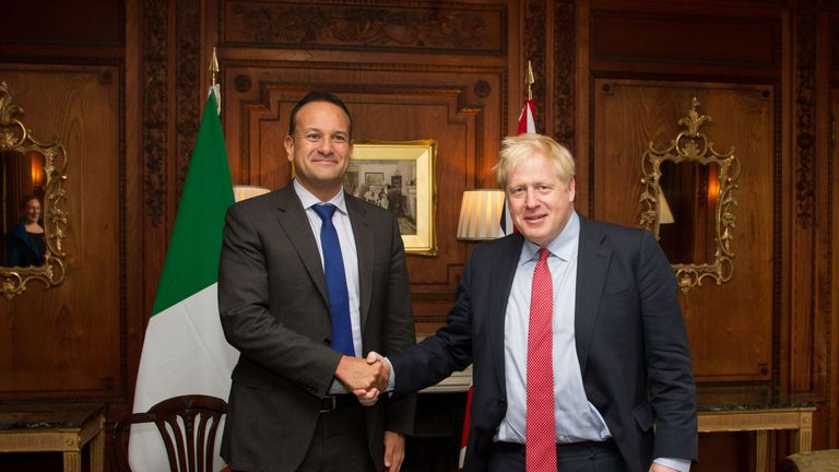 Leo Varadkar and Boris Johnson inside Thornton Manor Hotel, near Birkenhead