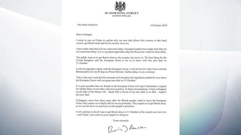 Boris Johnson's letter to MPs