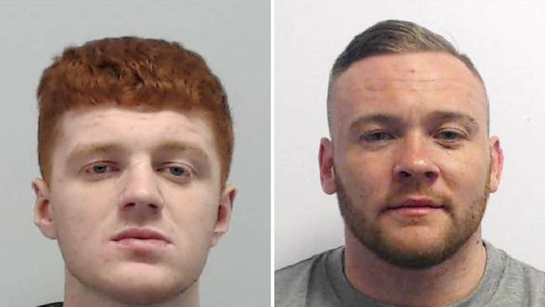Lewis Fisher (L) was being chased by Joseph Pownall at more than 70mph in a 30mph zone