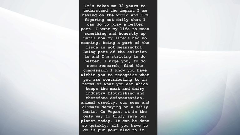 Part of the message Hamilton posted on Instagram