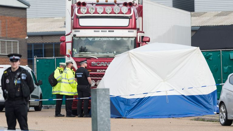 The scene where the bodies were discovered in Grays, Essex, in October last year
