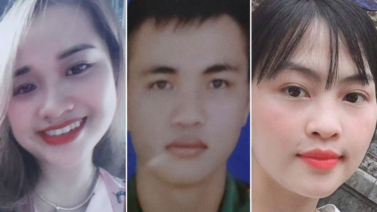 Anna Bui Thi Nhung (left), Nguyen Dinh Tu (centre) and Tra My, all from Vietnam, are believed to be among those in the lorry