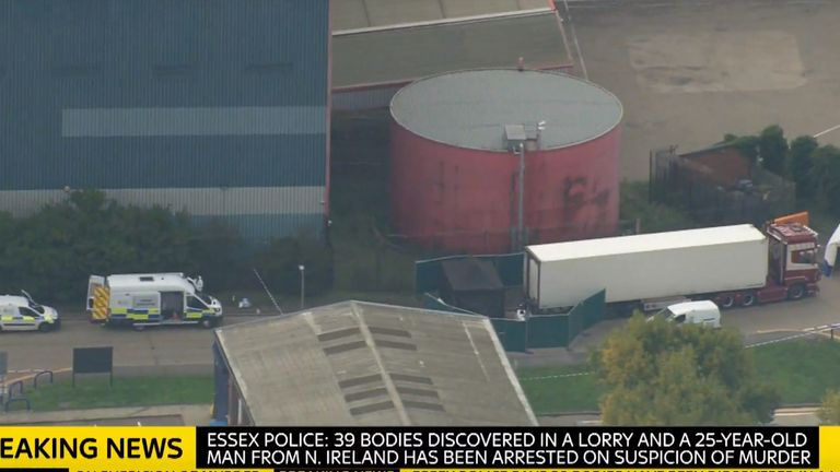 The lorry at the industrial estate in Essex