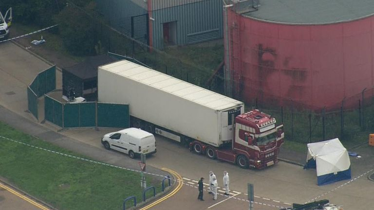An aerial picture of the lorry being examined by police