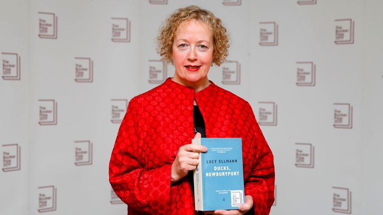 US-born British novelist Lucy Ellmann poses with her book Ducks, Newburyport during the photo call for the authors shortlisted for the 2019 Booker Prize for Fiction