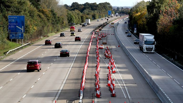 Traffic cones are placed on the M20 in Ashford, Kent, as Operation Brock, the governments no-deal Brexit contingency plan to avert lorry gridlock in Kent is implemented again tomorrow morning