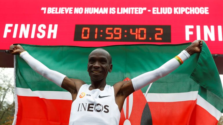 Kipchoge covered the distance in 1.59.40 - a full 20 seconds ahead of the two-hour mark