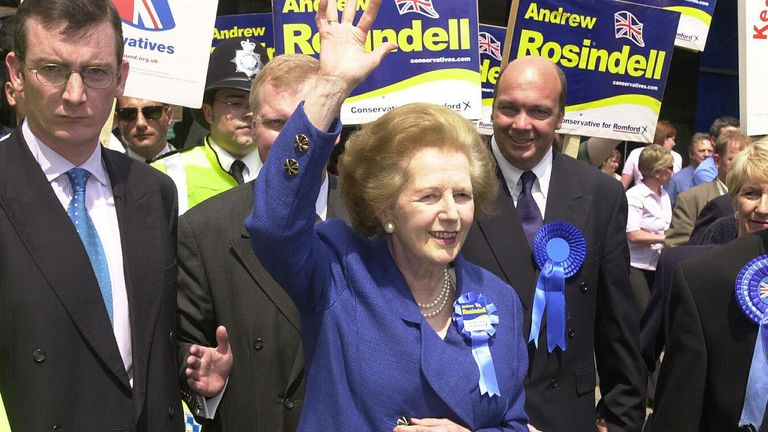 """Lady Thatcher meeting the people of Romford, Essex as she tours the shopping centre. The Tories earlier renewed their onslaught on Labour's tax and spending plans, claiming that Chancellor Gordon Brown had given voters a """"thinly veiled promise"""". * that taxes would rise if Labour won the election on Thursday."""