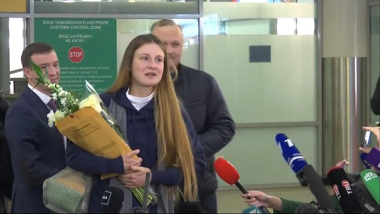 Maria Butina spoke to reporters after arriving at Moscow airport