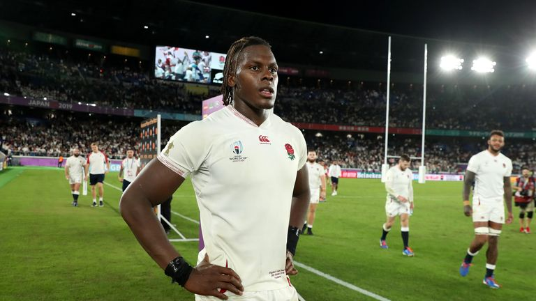 YOKOHAMA, JAPAN - OCTOBER 26: Maro Itoje of England looks on after their victory during the Rugby World Cup 2019 Semi-Final match between England and New Zealand at International Stadium Yokohama on October 26, 2019 in Yokohama, Kanagawa, Japan. (Photo by David Rogers/Getty Images)
