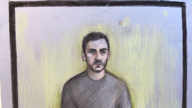 A court sketch of Maurice Robinson appearing via videolink at Chelmsford Magistrates' Court on 28 October