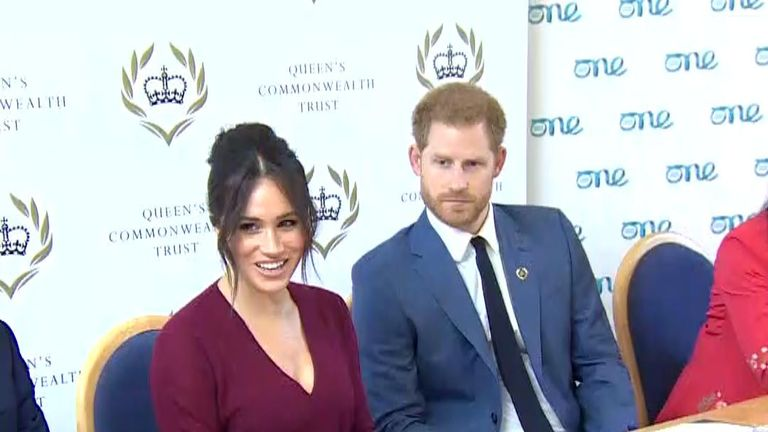 The Duchess of Sussex makes a joke during a public appearance