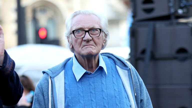 Lord Michael Heseltine, backstage during an anti-Brexit rally in Parliament Square