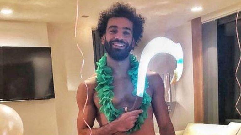 Mohamed Salah dressed up as Maui from the Disney film Moana. Pic: Twitter/Mohamed Salah